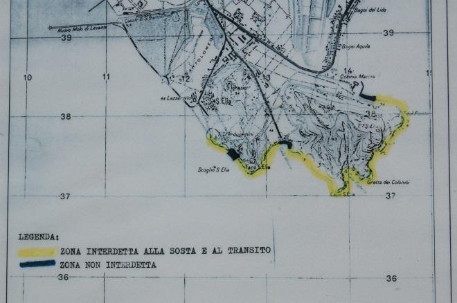in giallo le aree interdette in base alle ordinanze della Capitaneria di Porto di Cagliari